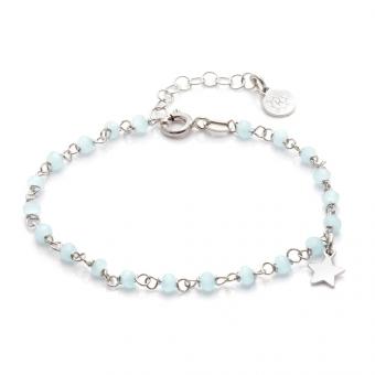Bransoletka na nogę OVAL srebrna z niebieskimi kryształkami