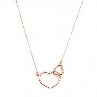 Naszyjnik LOVE srebrny pozłacany na różowo z serduszkami