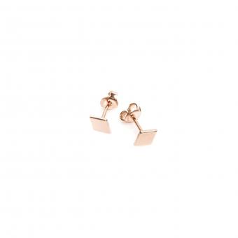 Kolczyki BELIEVE srebrne pozłacane na różowo karo