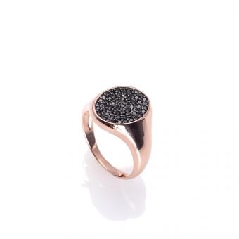 Pierścionek OVAL srebrny pozłacany na różowo z czarnymi cyrkoniami