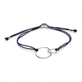 Bransoletka sznurkowa COSMO srebrna z kółkami