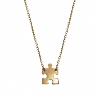 Naszyjnik celebrytka BELIEVE srebrny pozłacany z puzzlem