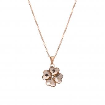 Naszyjnik AIDA srebrny pozłacany na różowo z Kryształem Swarovskiego