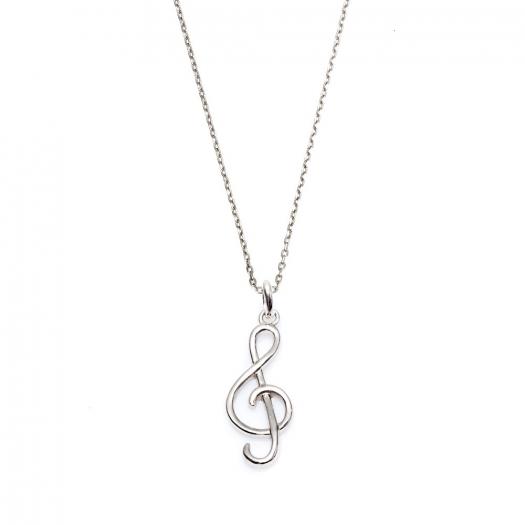Naszyjnik HOBBY srebrny z kluczem wiolinowym