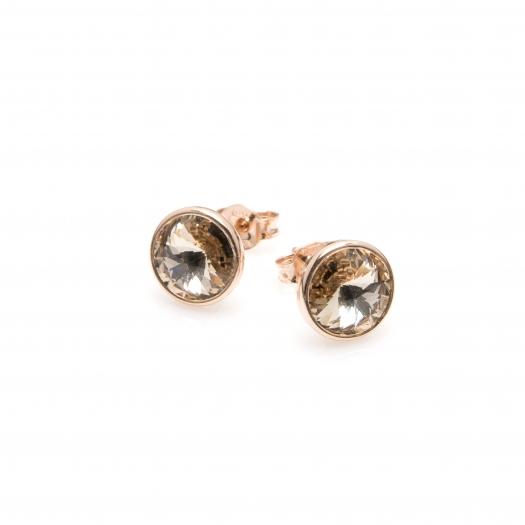 Kolczyki AIDA srebrne pozłacane na różowo z kryształem Swarovskiego