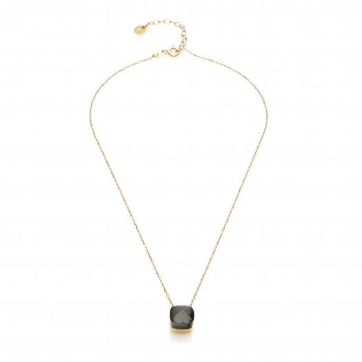 Naszyjnik VENUS srebrny pozłacany z grafitowym kryształem