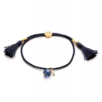Bransoletka sznurkowa LARA z kryształem i frędzlami