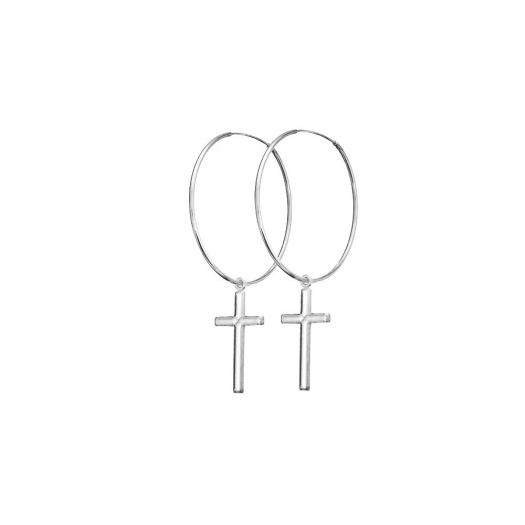 Kolczyki URBAN CHIC srebrne 2 cm z krzyżykiem