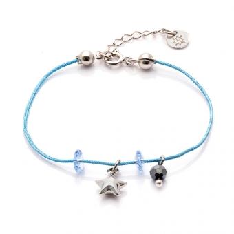 Bransoletka sznurkowa MINI z kryształkami i gwiazdką