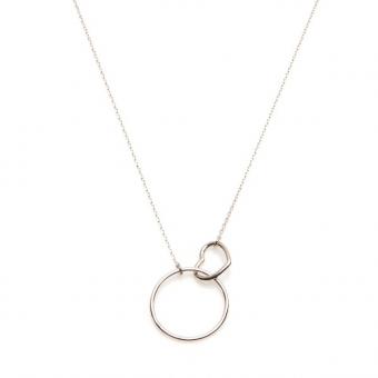 Naszyjnik LOVE srebrny z serduszkiem i kółkiem