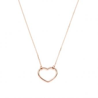 Naszyjnik LOVE srebrny pozłacany na różowo z serduszkiem