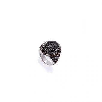 Pierścionek OVAL srebrny z czarnymi cyrkoniami