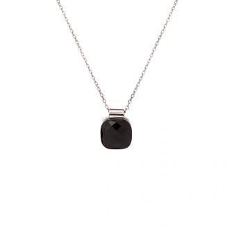 Naszyjnik VENUS srebrny z czarnym kryształem
