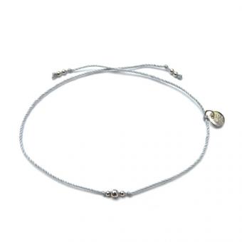 Bransoletka sznurkowa FELICITA srebrna z kuleczkami