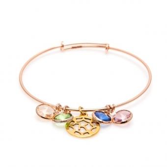 Bransoletka AIDA srebrna pozłacana na różowo z kryształami Swarovskiego