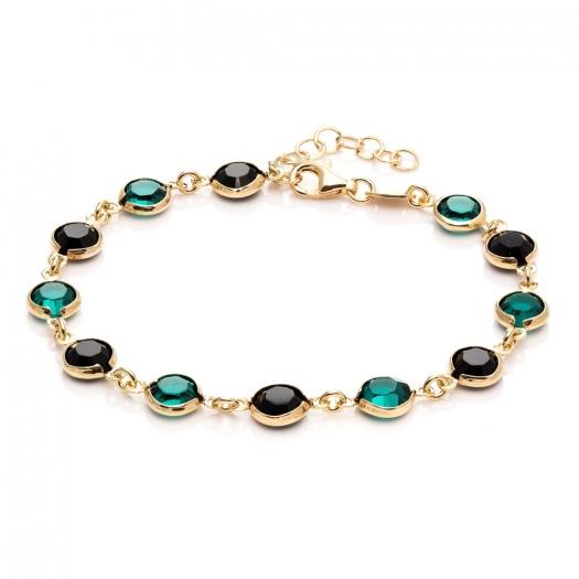 Bransoletka AIDA srebrna pozłacana z kryształami Swarovskiego