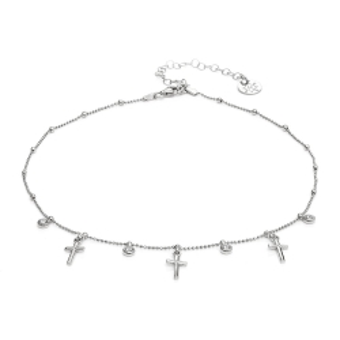 Choker URBAN CHIC srebrny z krzyżykami i cyrkoniami