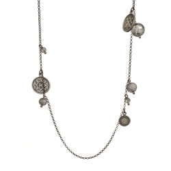 Naszyjnik DARK srebrny z kwarcem i monetami