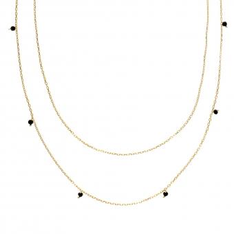 Naszyjnik podwójny OVAL srebrny pozłacany z naturalnym onyksem