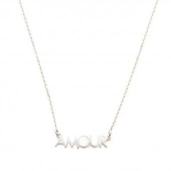 Naszyjnik ROMANTICA srebrny z napisem amour