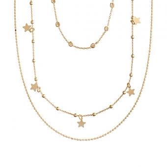 Naszyjnik potrójny LOCO STAR srebrny pozłacany z gwiazdkami