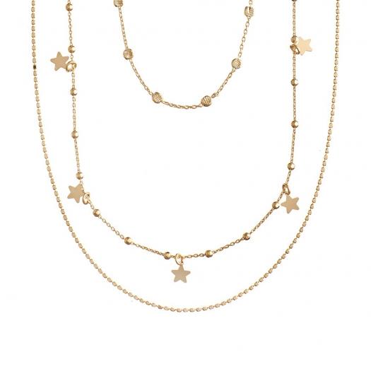 Naszyjnik potrójny LOCO STAR srebrny pozłacany z gwiazdkami i cyrkoniami