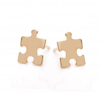 Kolczyki BELIEVE srebrne pozłacane puzzel
