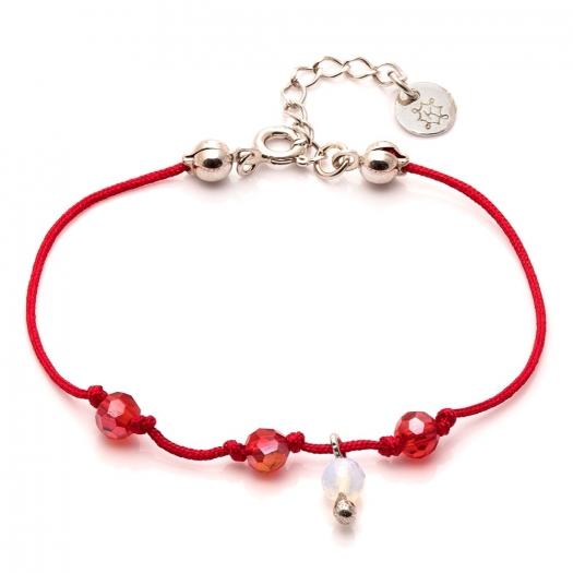Bransoletka sznurkowa MINI z naturalnym opalem i kryształkami