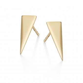 Kolczyki AZYMUT srebrne pozłacane trójkąt