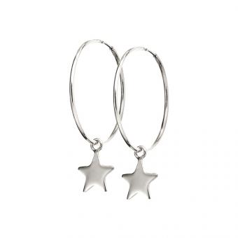 Kolczyki SKY srebrne koła 2 cm z gwiazdkami