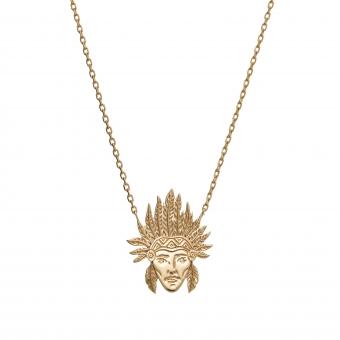 Naszyjnik BOHO srebrny pozłacany z głowa indianina
