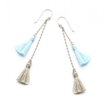 Kolczyki LARA z niebieskimi i szarymi frędzlami