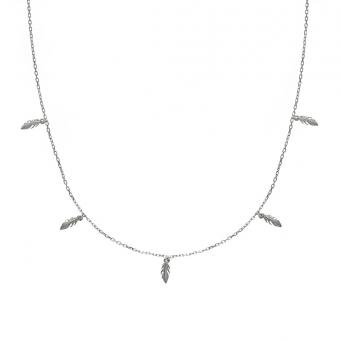 Naszyjnik BOHO srebrny z piórkami
