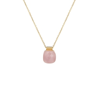 Naszyjnik VENUS srebrny pozłacany z różowym kryształem