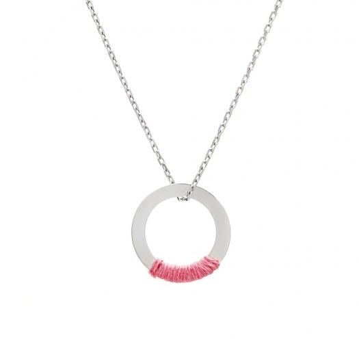 Naszyjnik BE STRONG srebrny z kółkiem i różowym sznurkiem