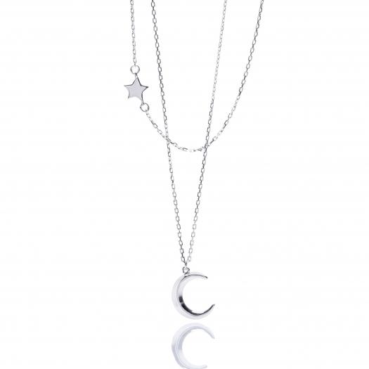 Naszyjnik WILD srebrny z księżycem i gwiazdką