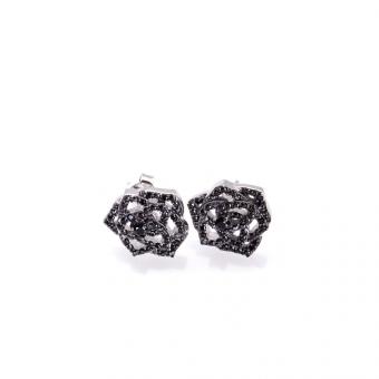 Kolczyki NERO srebrne z czarnymi cyrkoniami