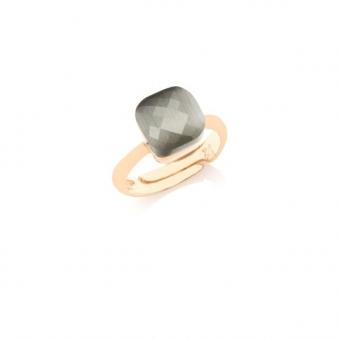 Pierścionek VENUS srebrny pozłacany z grafitowym kryształem