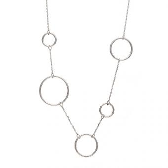Naszyjnik  KASJOPEJA srebrny z kółkami