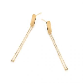 Kolczyki FRAMES srebrne pozłacane z łańcuszkiem