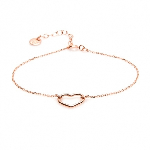 Bransoletka LOVE srebrna pozłacana na różowo z serduszkiem