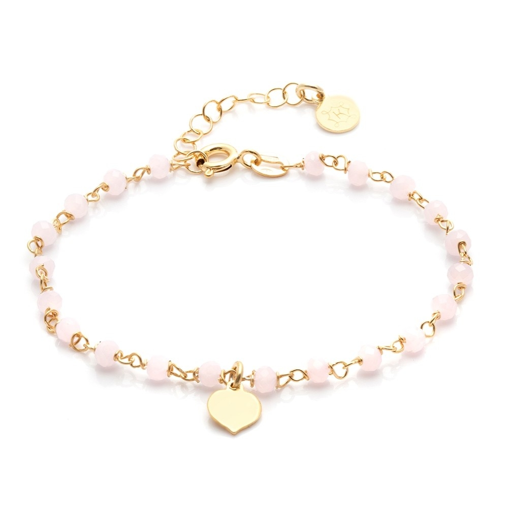 Bransoletka na nogę OVAL srebrna pozłacana z różowymi kryształkami