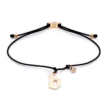 Bransoletka sznurkowa E. JAK EMOCJE srebrna pozłacana z literą B