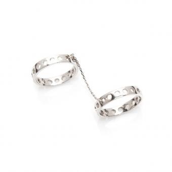 Pierścionek podwójny FRAMES srebrny