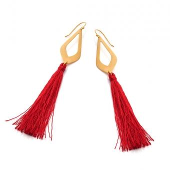 Kolczyki LARA pozłacane z czerwonymi frędzlami