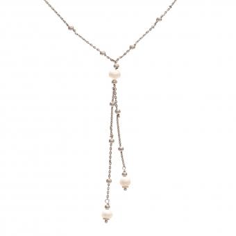 Naszyjnik CLASSY srebrny z perłami i kuleczkami