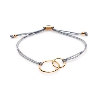 Bransoletka sznurkowa COSMO srebrna pozłacana z kółkami