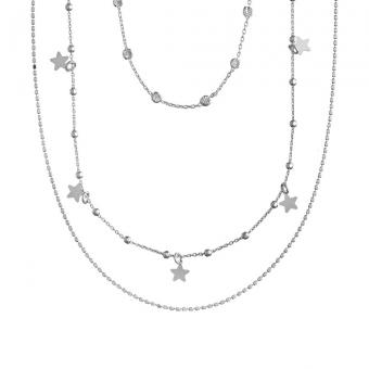 Naszyjnik potrójny LOCO STAR srebrny z gwiazdkami i cyrkoniami