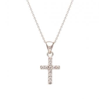 Naszyjnik MINI srebrny z krzyżykiem i cyrkoniami