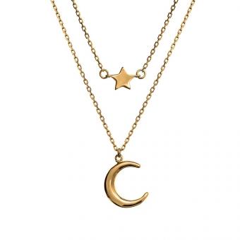 Naszyjnik WILD srebrny pozłacany z księżycem i gwiazdką
